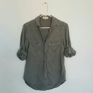 anthropologie cloth & stone | green chambray shirt